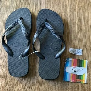 Havaianas, 35-36, black, wide strap, new